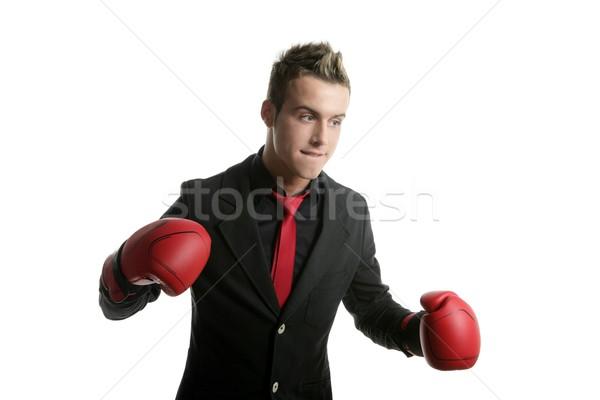 Bokser młodych konkurencyjny biznesmen odizolowany biały Zdjęcia stock © lunamarina