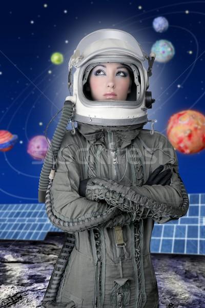 astronaut spaceship aircraft helmet fashion woman Stock photo © lunamarina