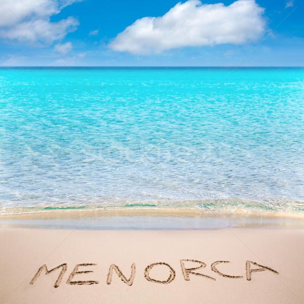 Menorca word written on sand of mediterranean beach Stock photo © lunamarina