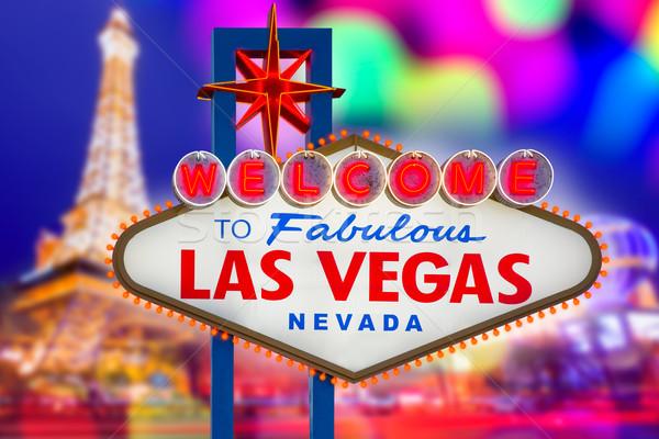 Welcome to Fabulous Las Vegas sign sunset with Strip Stock photo © lunamarina