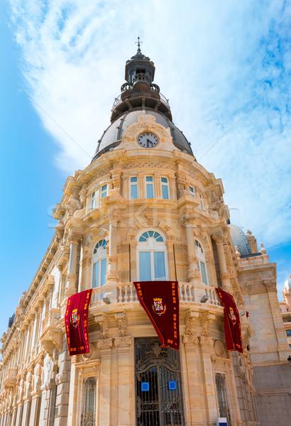 Foto stock: Sala · España · ciudad · cielo · edificio · reloj