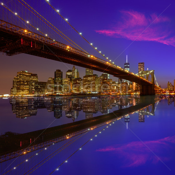 Brooklyn Bridge sunset New York Manhattan Stock photo © lunamarina