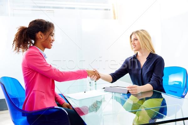 Stock photo: businesswomen interview handshake multi ethnic