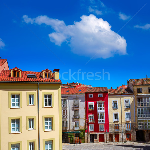 Belváros színes Spanyolország épület város házak Stock fotó © lunamarina