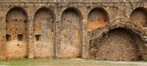 Castle fort wall in Ainsa village Aragon Pyrenees Stock photo © lunamarina