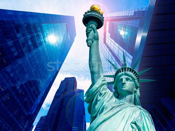 Hörcsög szobor felhőkarcolók New York amerikai szimbólumok Stock fotó © lunamarina