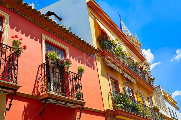Triana barrio facades in Seville Andalusia Spain Stock photo © lunamarina