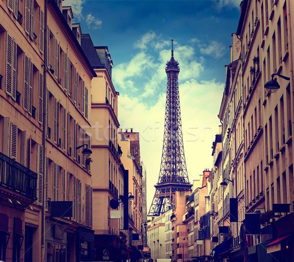 Stok fotoğraf: Eyfel · Kulesi · Paris · Fransa · Bina · şehir · gün · batımı