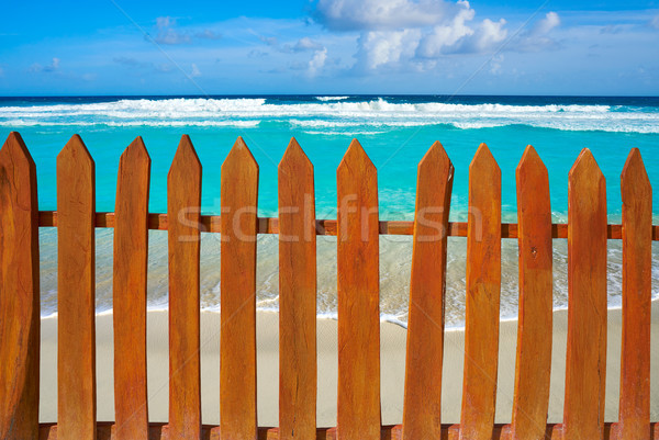 Caribbean island fence in turquoise beach Stock photo © lunamarina