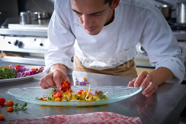 Chef hands garnishing vegetable dish Stock photo © lunamarina