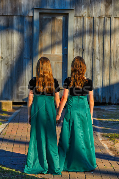 Lang jurk tweeling teen zusters hand Stockfoto © lunamarina