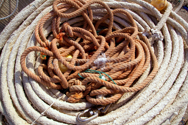 Aged ropes from fishing tackle stuff Stock photo © lunamarina