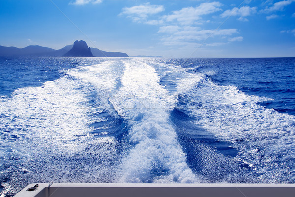 Es Vedra and Vedranell islands boat wake Stock photo © lunamarina