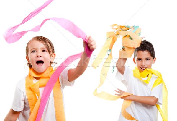 Iki çocuklar çocuklar parti renkli kâğıt Stok fotoğraf © lunamarina