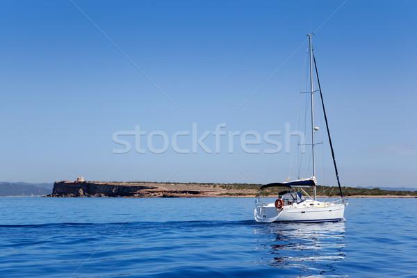 Espalmador in Formentera island with sailboat Stock photo © lunamarina