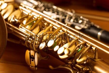 Stockfoto: Saxofoon · gouden · saxofoon · vintage · retro · licht