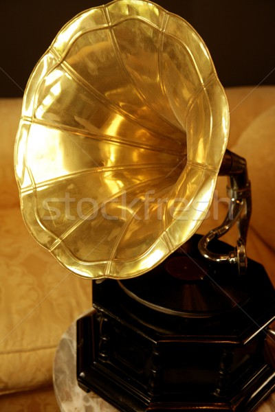 Old brass golden gramophone Stock photo © lunamarina