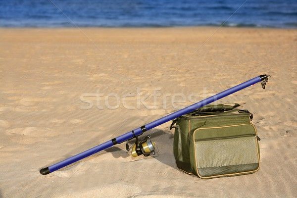 рыбалки стержень окна песчаный пляж морем воды Сток-фото © lunamarina