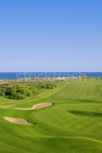 Golfbaan groen gras zee oceaan zomer blauwe hemel Stockfoto © lunamarina