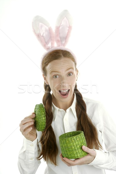 Stockfoto: Grappig · vrouw · geschenk · konijn · oren