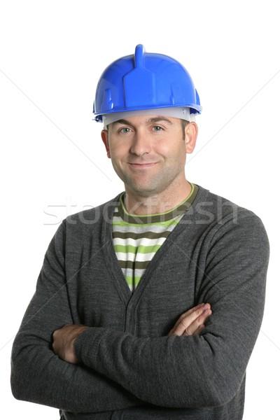 Blue hardhat foreman portrait in white Stock photo © lunamarina