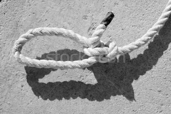 black and white bowline gauze on marine rope Stock photo © lunamarina
