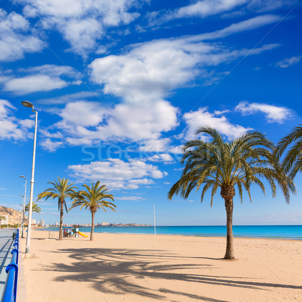 Alicante Postiguet beach at Mediterranean sea in Spain Stock photo © lunamarina
