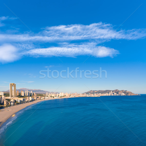 Benidorm alicante skyline aerial view of Poniente beach Stock photo © lunamarina