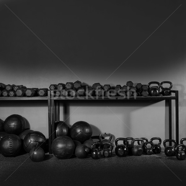 Kettlebell and dumbbell weight training gym Stock photo © lunamarina