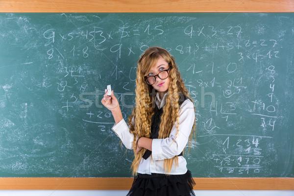 Stock photo: Nerd pupil blond girl in green board schoolgirl