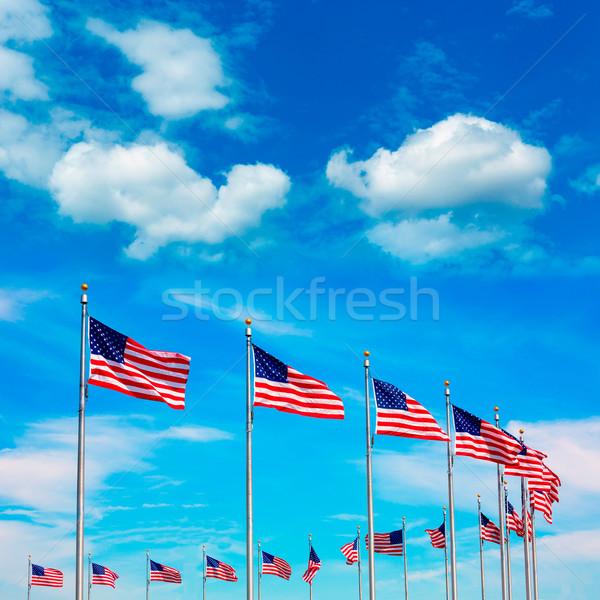 Stok fotoğraf: Washington · Anıtı · bayraklar · daire · ABD · Amerika · Birleşik · Devletleri · şehir