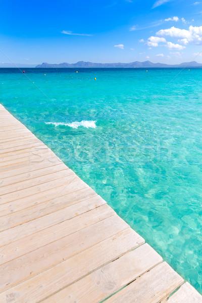 Strand majorca pier eilanden Spanje hemel Stockfoto © lunamarina
