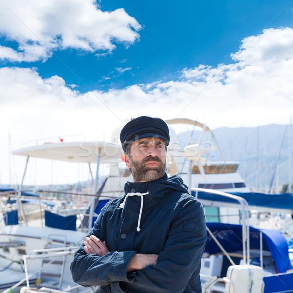 船乗り マリーナ ポート ボート 男 青 ストックフォト © lunamarina