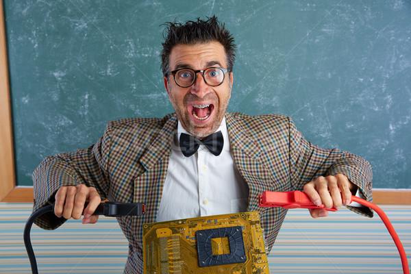 Nerd Electronics technicien rétro stupide enseignants Photo stock © lunamarina