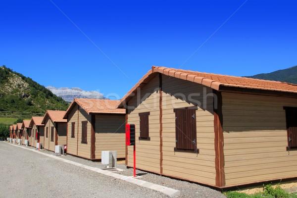 Fa bungaló házak kempingezés fából készült ház Stock fotó © lunamarina