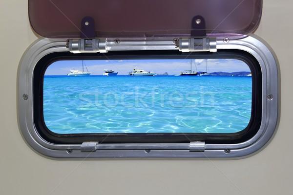 Boat porthole turquoise tropical blue ocean sea Stock photo © lunamarina