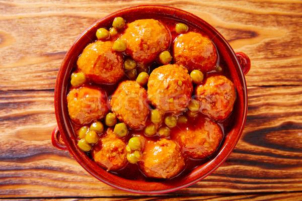 Húsgombócok tapas recept olaj vacsora olajbogyó Stock fotó © lunamarina