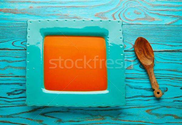 Domates sosu kare turkuaz yemek ahşap gıda Stok fotoğraf © lunamarina