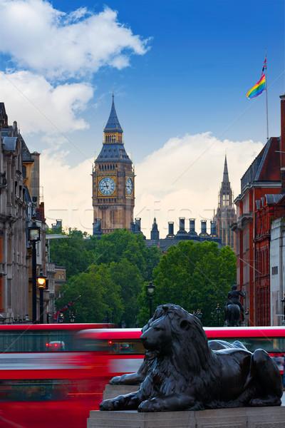 Stock photo: London Trafalgar Square lion and Big Ben