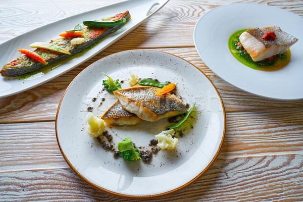 Peces alimentos recetas a la parrilla mar bajo Foto stock © lunamarina