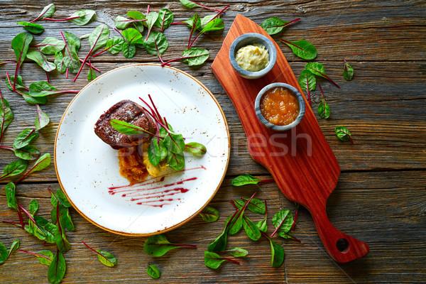 Kalfsvlees lendenen gegrild Rood hout Stockfoto © lunamarina