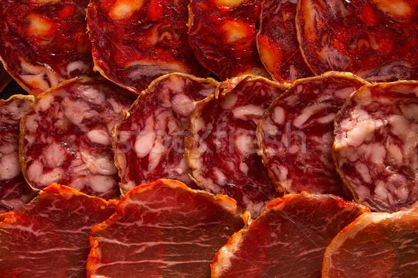 Salsichas presunto conselho tapas Óleo comer Foto stock © lunamarina