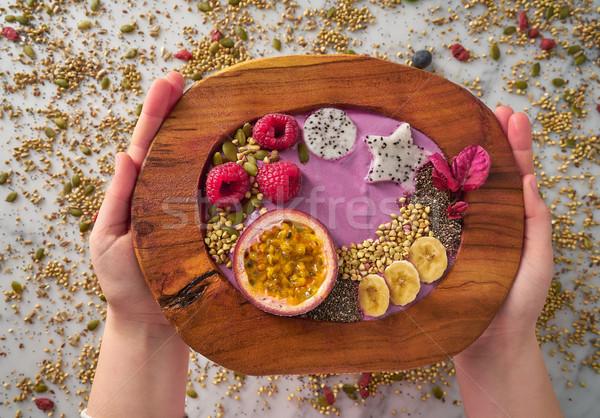 Tál smoothie szenvedély gyümölcs málna magok Stock fotó © lunamarina