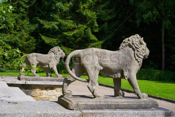 Lion statues detail in Josheps Cross at Stolberg Harz Stock photo © lunamarina