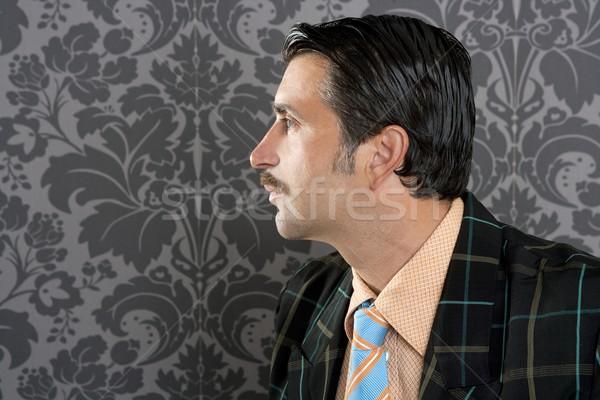Stock foto: Nerd · Retro · Jahrgang · Geschäftsmann · Profil · Porträt