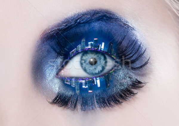 Blauw oog make-up macro nacht Stockfoto © lunamarina