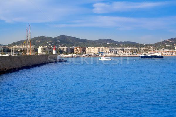 Világítótorony dokk hajók mediterrán Spanyolország tengerpart Stock fotó © lunamarina