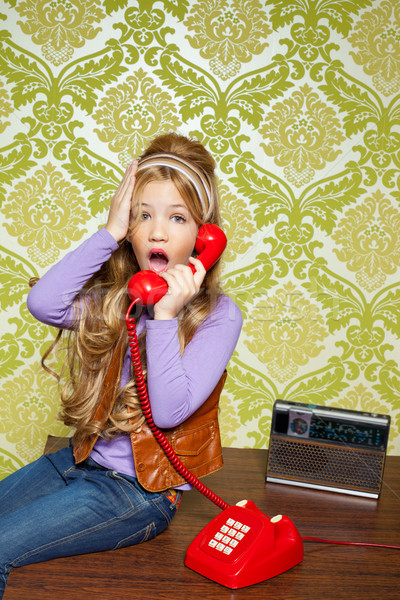 kid girl retro talking busybody in red telephone Stock photo © lunamarina