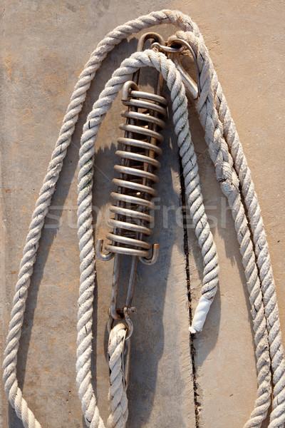mooring spring detail with marine ropes Stock photo © lunamarina