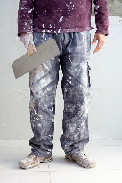 Stock photo: construction plaster plaster man dirty trousers